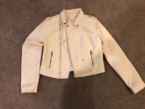 4d2c154c8 Details about Women's Bongo brand faux leather cream short jacket size L  EUC FREE SHIPPING