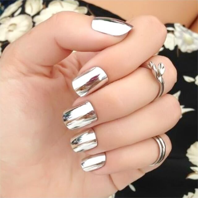 Nail Powder No Polish Foil Nails Art Glitter Silver Shiny Mirror