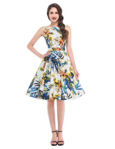 Women/'s Ladies Vintage 1950/'s Summer Special Occasions Party Floral Dress
