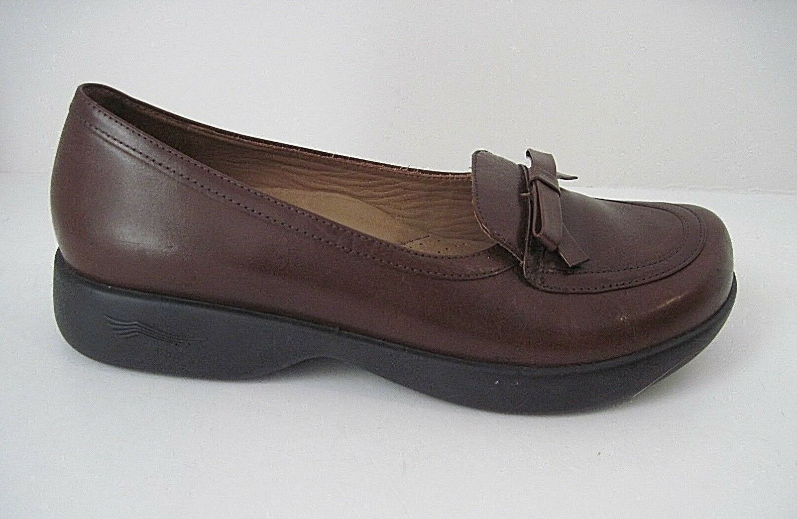 Dansko Women's Shoes Brown Leather Slip On Loafers Front bow Size 40