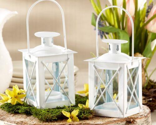 25 White Luminous Mini Lantern Tea Light Holder Wedding Favors Table Decor