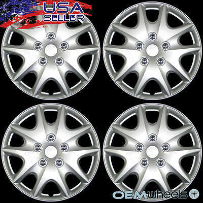 """4 NEW OEM SILVER 15/"""" HUB CAPS FITS 1983-CURRENT TOYOTA CAMRY WHEEL COVERS SET"""
