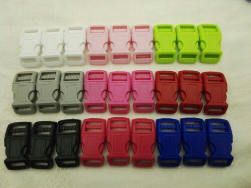 """25x de 1//2/"""" pulgadas curvado de liberación lateral Hebilla de plástico-selección de 9 Colores 12.7 mm"""