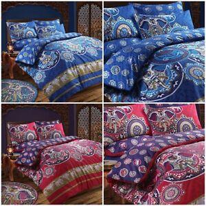 Tema-Retro-Paisley-Indio-Elefante-Funda-nordica-Juego-de-cama-en-rosa-azul