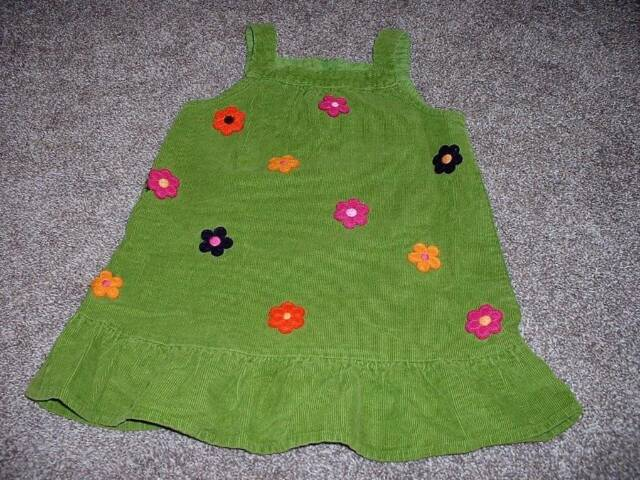 Gymboree Toddler Girls All About Buttons Corduroy Jumper Dress Green Size 2T 2