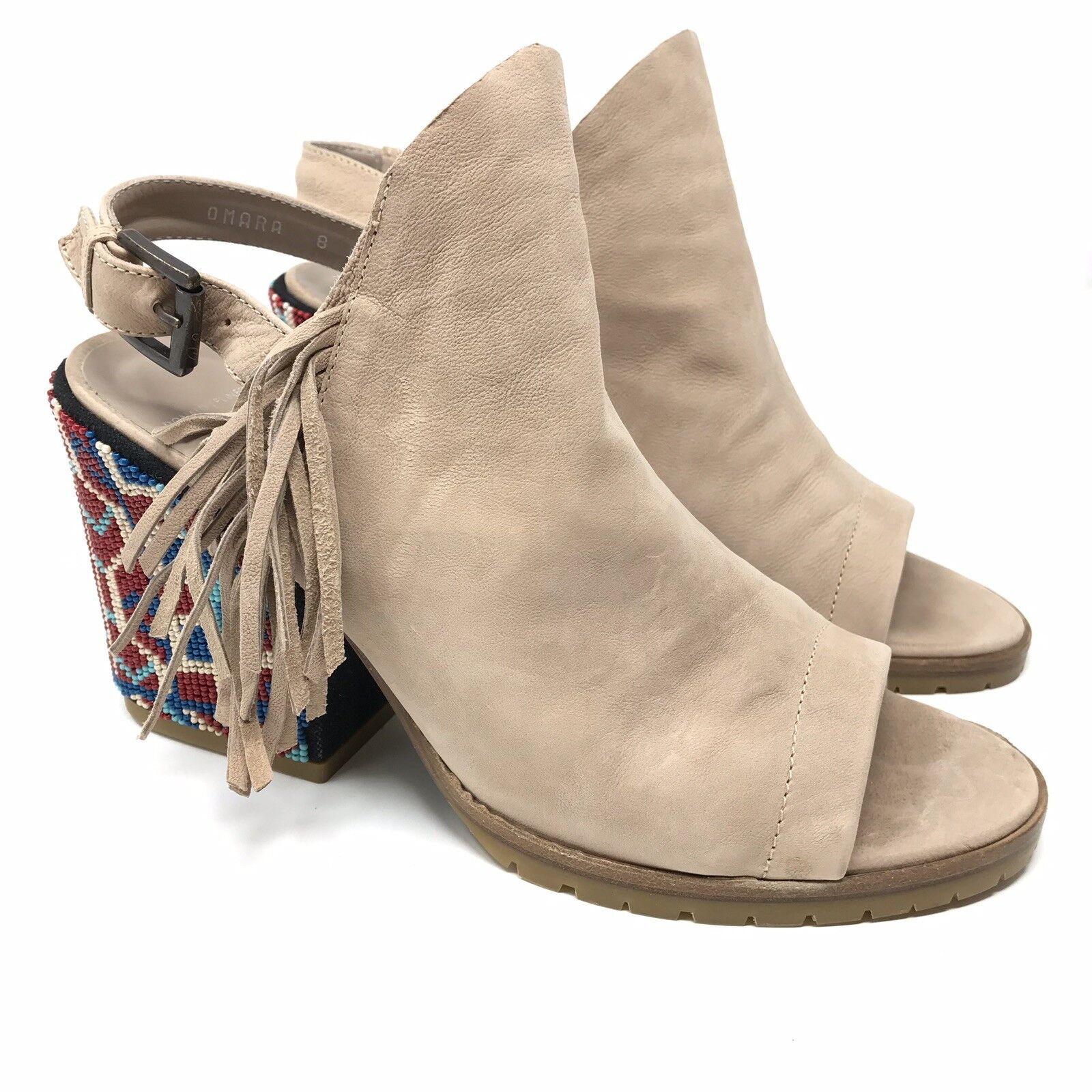 NWOB Donald Pliner femmes 8B Omara Slingback Heeled Sandals Beige Nubuck Beaded
