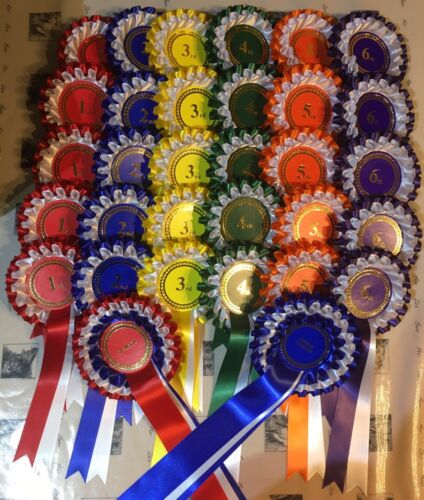 A complete show pack containing Either 5 or 10 sets of 1st6th 2 tier rosettes