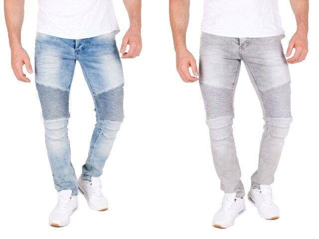 UOMO BIKER JEANS USED Skinny Denim pantaloni strappati cucitura stretch a costine slim fi