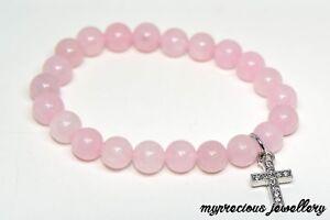 Natural Rose Quartz Cross Bracelet Fertility Pregnancy Gemstone Healing Reiki UK