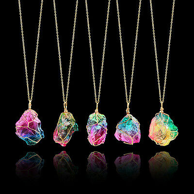 Rainbow Stone Natural Crystal Chakra Rock Necklace Gold Plated Quartz Pendant tg