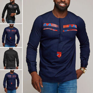 Men/'s African Dashiki Long Sleeve T-Shirt Ethnic Casual V Neck Ethnic Fitted Top