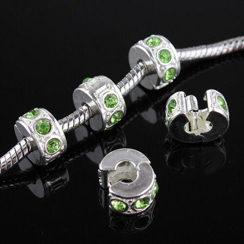 5Pcs Czech Crystal Silver Charm Beads Clips Locks Stoppers for European Bracelet