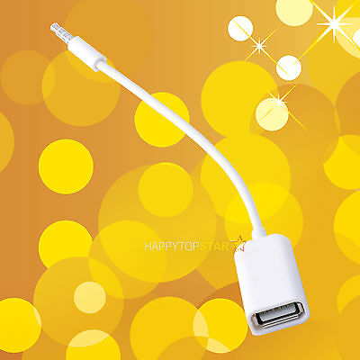3.5 mm Male AUX Audio Stereo Plug Jack to USB 2.0 Female Converter Cable Cord U