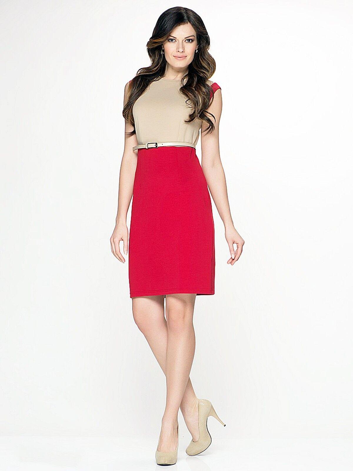 Robe de porter au travail stretch sans hommeches ceinturée Made in Europe Rouge S M L XL 2XL
