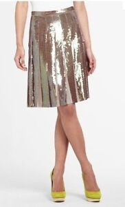 NEW-BCBG-MAX-AZRIA-PUMICE-COMBO-EDNA-SEQUINED-PLEATED-MZU3C630-S90-SKIRT-SIZE-XS