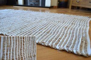 Grand Jute Tapis Blanc Chindi Coton Rayure Fait A La Main Noue