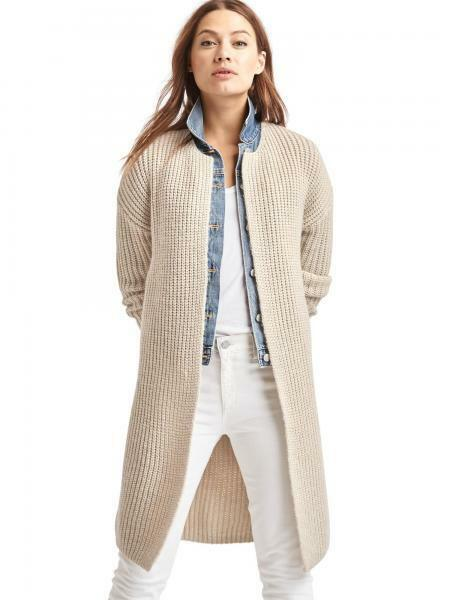 Gap Women's Ribbed Collarless Cardigan, Oatmeal Heather SIZE L     v1016