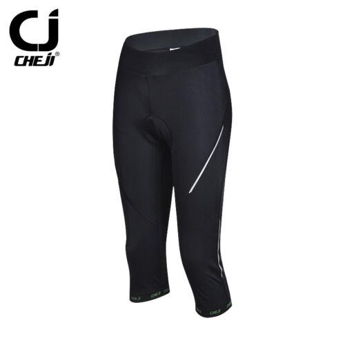Cheji WOMEN/'S Bicicletta Pantaloncini Nero GEL Imbottito Ciclismo Pantaloni riflettenti 3//4