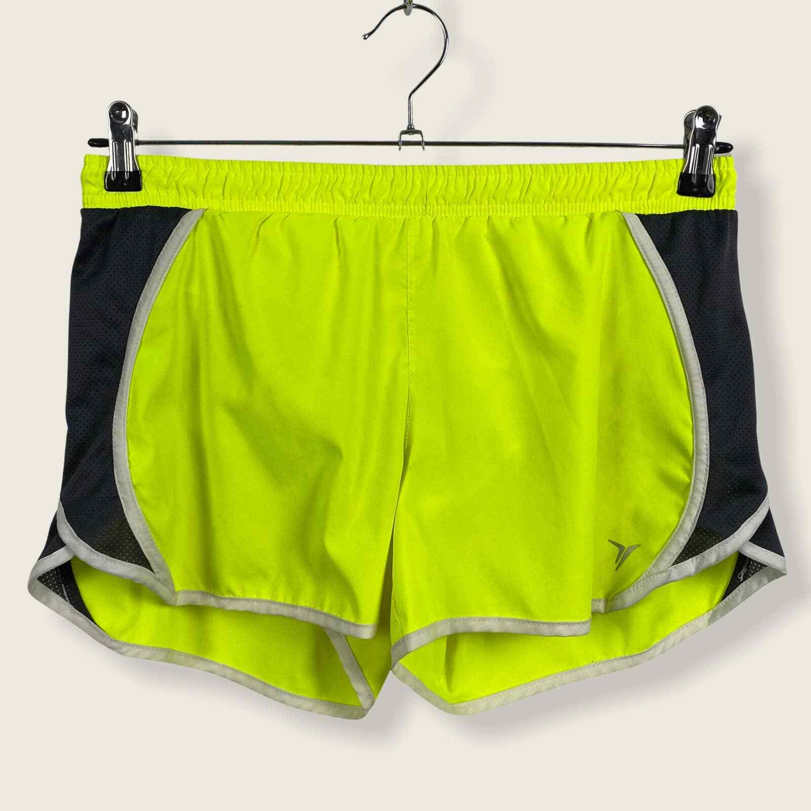 Old Navy Running Active Lemon Neon Yellow Athletic Shorts MEDIUM Brief Liner