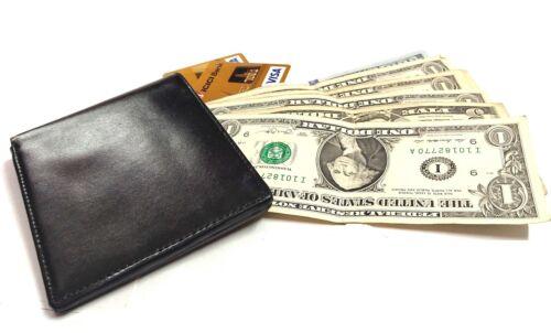 Men/'s Card Holder wallet Purse Leather Corporate Gift black Color Bi-Fold New 51
