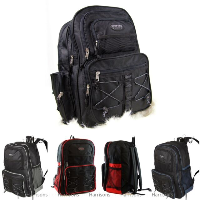 LARGE DURABLE BACKPACK 29 - 35 Ltr TRAVEL CABIN BAG SCHOOL A4 WORK SPORT GYM 17""