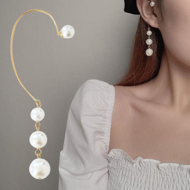 Women Gold Crystal Pearl Ear Shape Pierced Ear Clip Stud Earrings JewelryPY