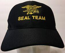 18934bb2 Eagle Crest Seal Team Black Snapback Hat Military Special Forces Navy USN  Cap