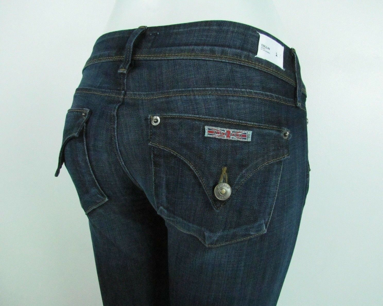 New HUDSON COLLIN SKINNY Mid rise Jean Women SZ 26 in DARK blueE DARCY