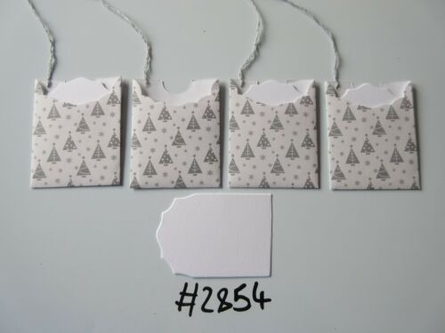 Set of 4 #2854 White with Silver Trees and Snowflakes Unique Handmade Gift Tags
