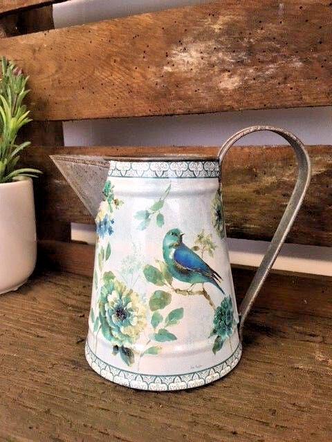 FLORAL MéTAL CRUCHE PAYS fleur vintage oiseau vase carafe Décoration de mariage