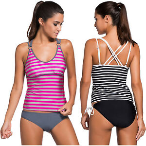 e54c2d957b1af Black White Striped Strappy Two Piece Swimsuit Summer Brief Sexy ...