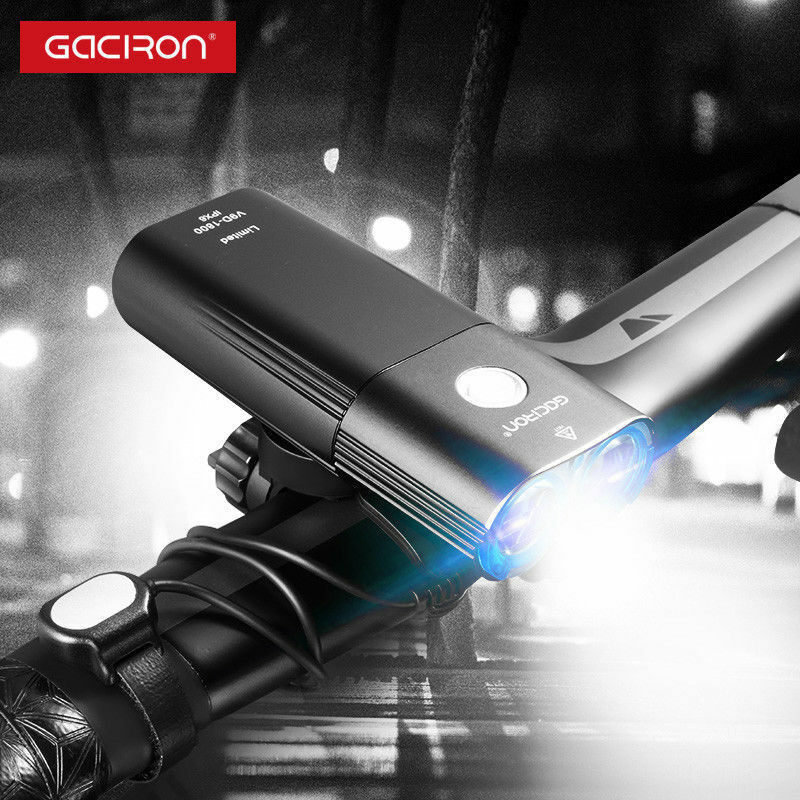 Gaciron USB riautoicabile BICICLETTA ANTERIORE uomoUBRIO LUCE 1800lm 6700mAh HEADLIGHT