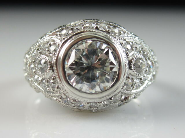 Platinum Diamond Ring Old European Cut SOPHIA D. Vintage Art Deco Style Estate