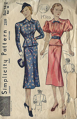 1930s Vintage Sewing Pattern B32 TWO-PIECE DRESS (1443)
