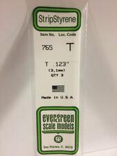 """of 3 Item #765 Evergreen Scale Models Styrene T Channel 0.123/"""" 14/"""" Long Pkg"""