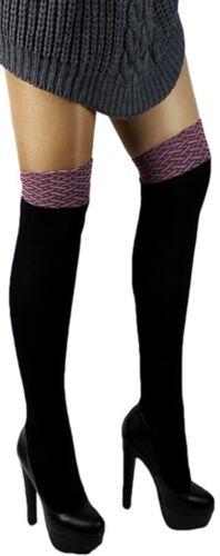 Scaldamuscoli Calze sopra il ginocchio caldo cotone calze da donna sopra ginocchio NERO-ROSSO