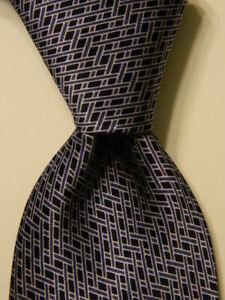CORNELIANI-Men-039-s-100-Silk-XL-Necktie-ITALY-Luxury-Geometric-Blue-Skinny-EUC