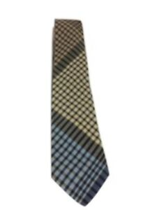 Missioni-Plaid-Cotton-Neck-Tie-Blue-and-Tan-55-Long-EUC
