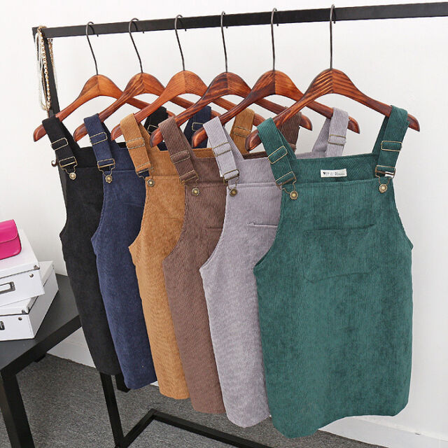 Womens Summer Corduroy Suspender Skirt Overall Vest Jumpsuit Mini Dress Sundress