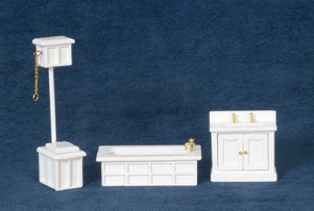 Dolls House 1:24 Scale White Victorian Bathroom Furniture Set Suite
