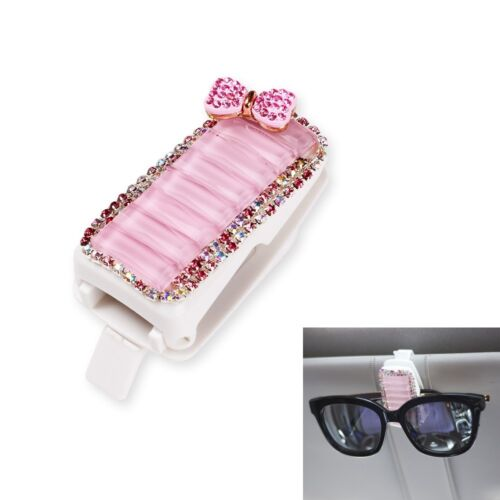 Bling Car Accessories for Girls Pink Crystal Bow Visor Sunglasses Clip Holder