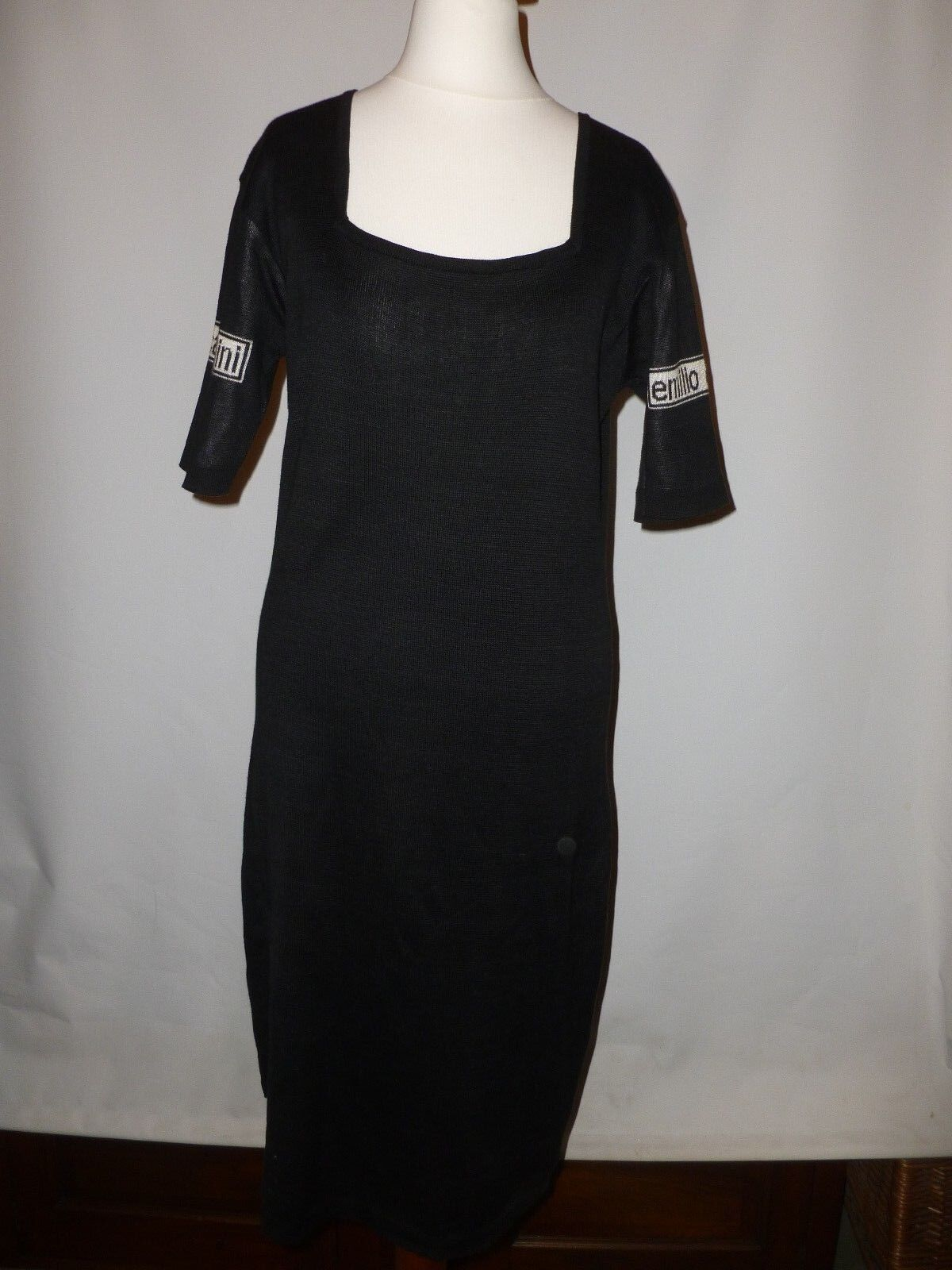 DESIGNER DRESS BY EMILIO CAVALLINI  COTTON KNIT KNIT KNIT - Größe UK 12   MADE IN ITALY 3e4f65