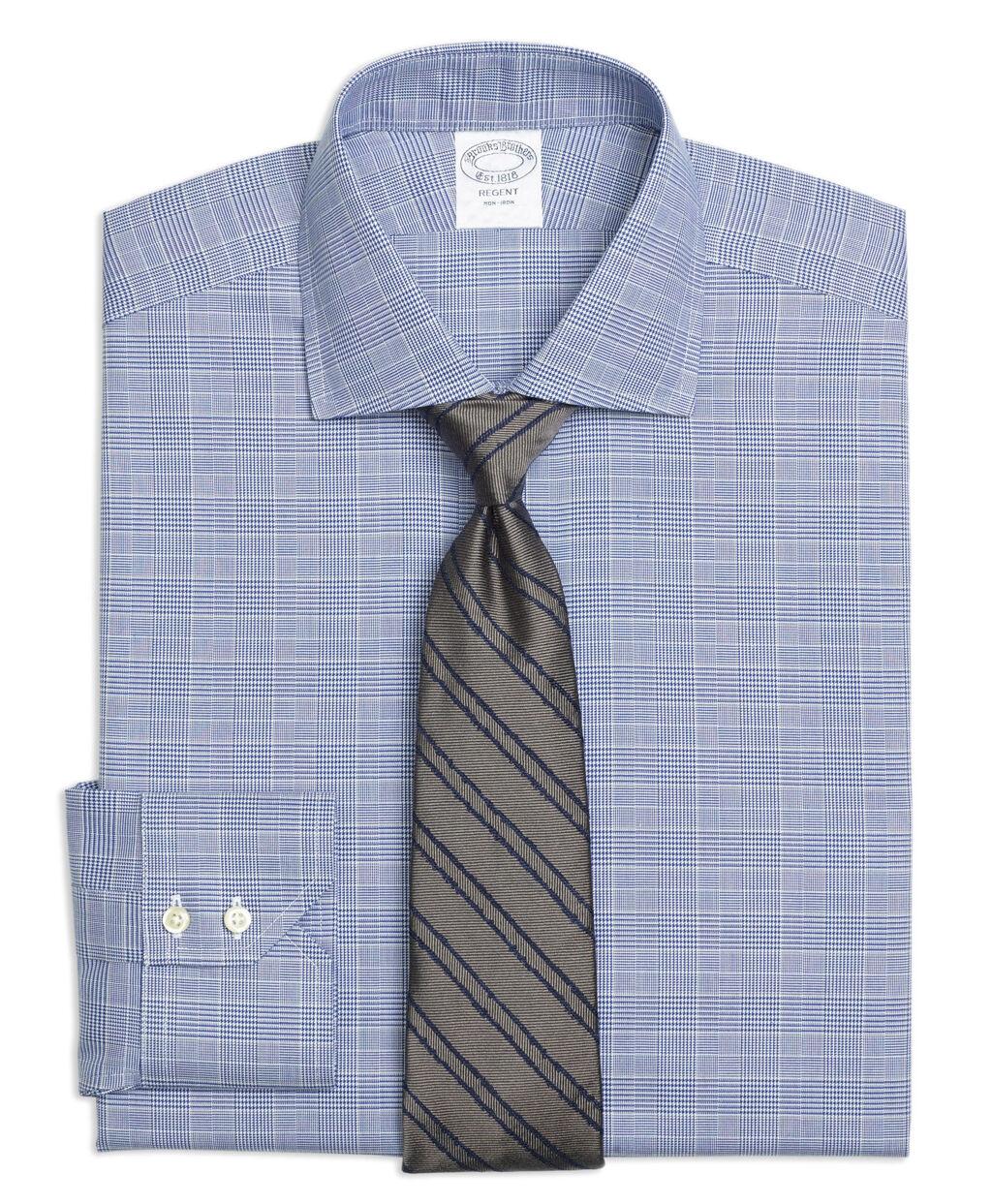 3619 Brooks Brothers  Herren Blau Glen Plaid Regent Fit Dress Shirt Sz 16.5 36/37