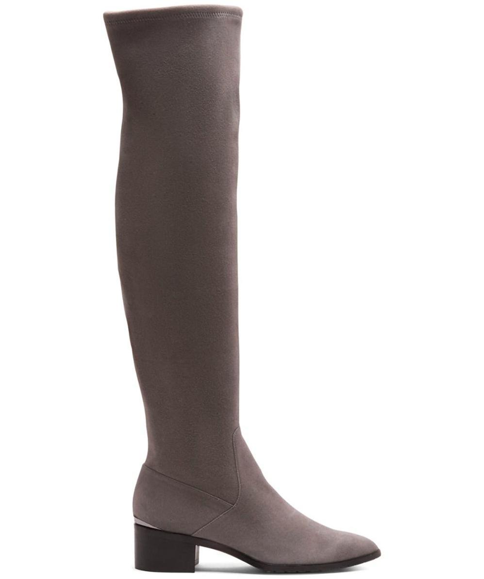 DONALD PLINER Grau DAYLE Stretch Suede Stiefel 6 M 448 blemish OTK Over The Knee