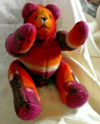 """Fabric Bear Stitched Jointed South Western.Print Purple Yellow Red & Sits 8.5"""""""