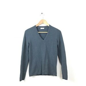 Brunello-Cucinelli-Cashmere-Sweater-XS-Gray-V-Neck-Pullover-Leather-Elbow-Patch