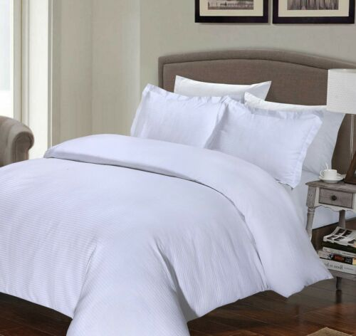 100/% LUXURY HOTEL QUALITY COTTON RICH STRIPE quilt DUVET COVER SET WHITE 200 TC