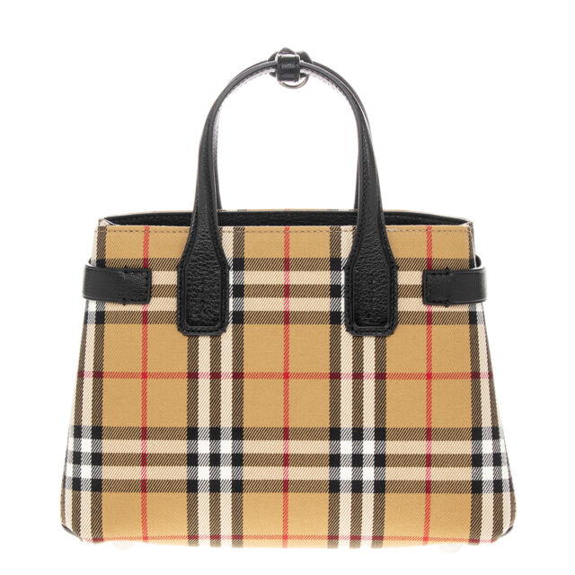 e06303155316 Burberry Small Banner Vintage Check   Leather Tote Black for sale ...