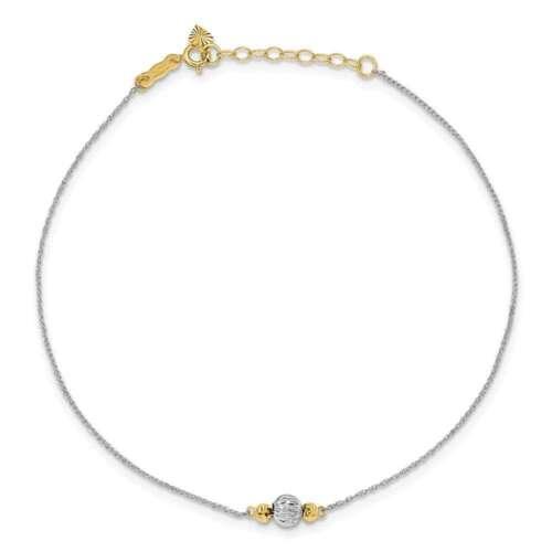 "9/"" 1/"" 14K Jaune /& Or Blanc Corde Shiny-Cut Bead Bracelet"