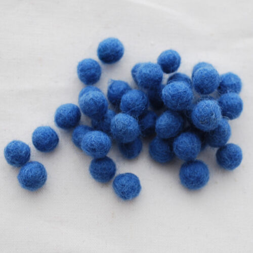 100/% Wool 100 Count 1cm 1.5cm 2cm 2.5cm 3cm Felt Balls Porcelain Blue